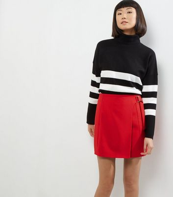 Red D Ring Wrap Mini Skirt