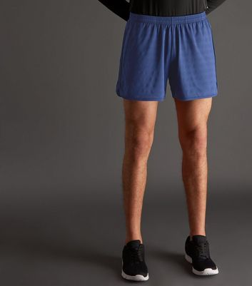 Blue Woven Stripe Running Shorts
