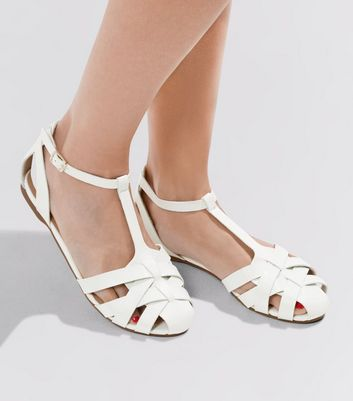 White Cross Strap Front Sandals