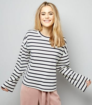 White Stripe Wide Sleeve Sweater