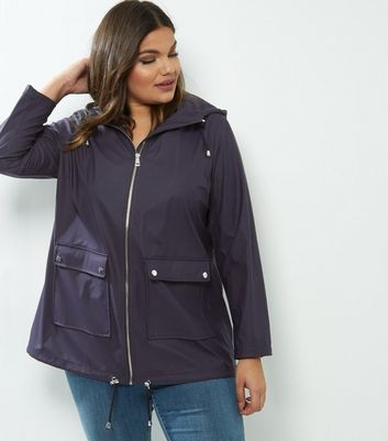 Curves Navy Matte Rain Coat