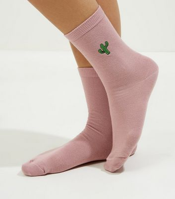 Pink Embroidered Cactus Socks