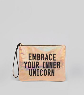 Pink Metallic Embrace Your Inner Unicorn Pouch