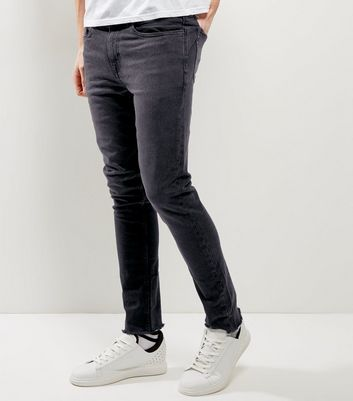 Black Washed Fray Hem Skinny Jeans