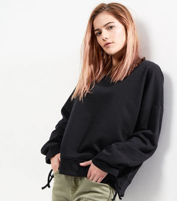 Black Ruched Sleeve Sweater
