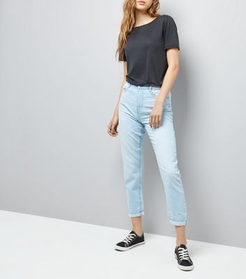 Light Blue Roll Hem Tori Mom Jeans