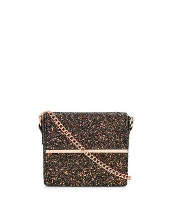 Mini sac rectangulaire noir brillant iridescent