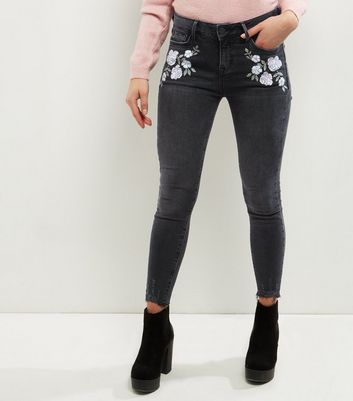 Petite Dark Grey Floral Embroidered Raw Hem Jeans