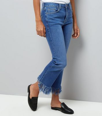 Petite Blue Extreme Fray Hem Flared Jeans