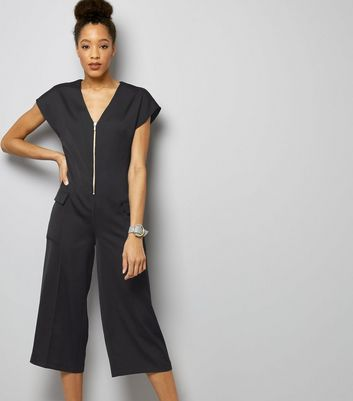 Navy Sateen Zip Front Utility Jumpsuit