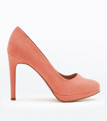 Coral Suedette Platform Court Shoes