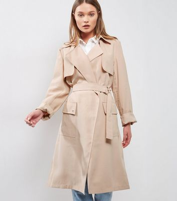 Tall Shell Pink D Ring Belted Trench Coat