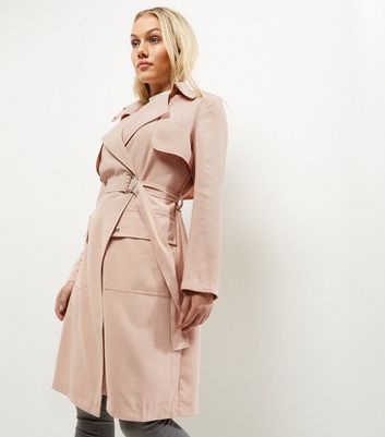 Petite Shell Pink D Ring Belted Trench Coat