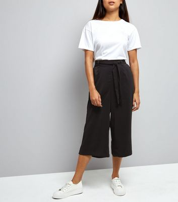 Petite Black Tie Waist Wide Leg Cropped Trousers