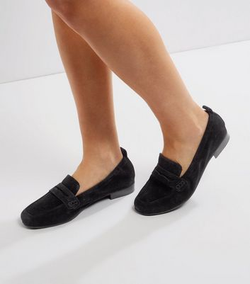 Black Suede Elasticated Loafers