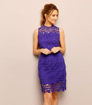 Purple Premium Lace High Neck Bodycon Dress