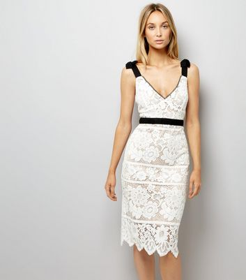 Cream Premium Lace Tie Strap Dress