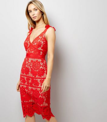 Red Premium Lace Tie Strap Dress