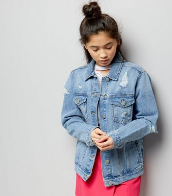 Teens Blue Ripped Oversized Denim Jacket