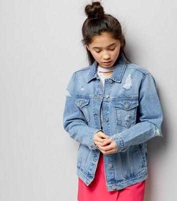 Teens Blue Ripped Oversized Denim Jacket | New Look