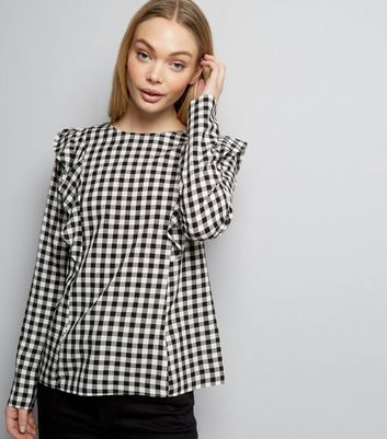 White Gingham Check Frill Trim Long Sleeve Top