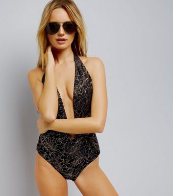 Black Metallic Floral Plunge Swimsuit