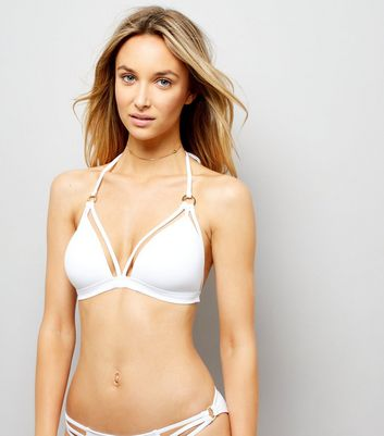 White Strappy Ring Front Plunge Bikini Top