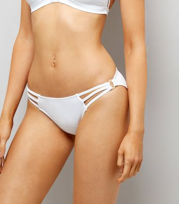 White Strappy Ring Side Bikini Bottoms