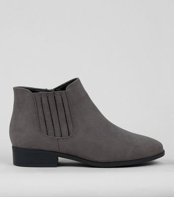 Wide Fit Grey Suedette Chelsea Boots