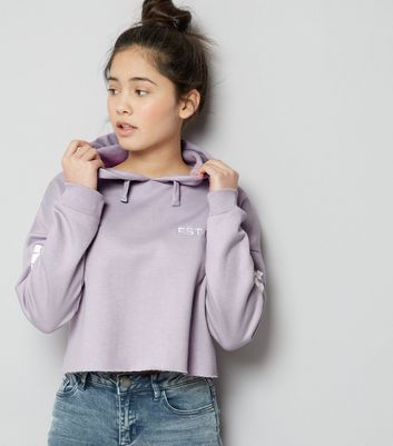 Teens Lilac Brooklyn Print Sleeve Cropped Hoodie
