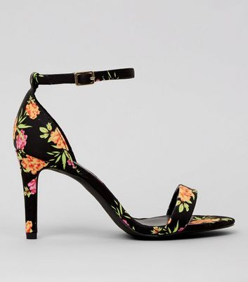 Black Floral Print Ankle Strap Heeled Sandals
