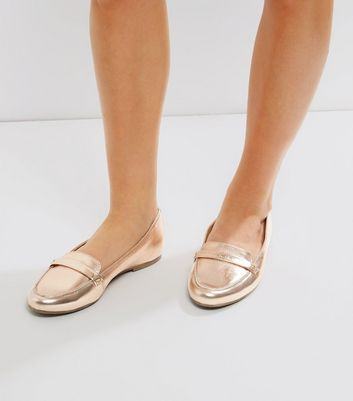 Rose Gold Leather Loafers