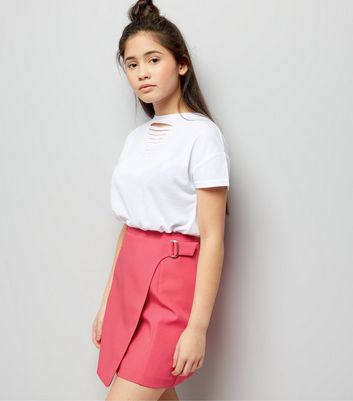 Teens Bright Pink D-Ring Wrap Skirt