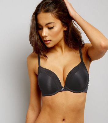 Black Geometric Lace Trim Boost Bra