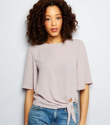 Tall Lilac Tie Front 1/2 Sleeve Top