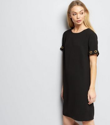 Black Eyelet Trim Short Sleeve Shift Dress