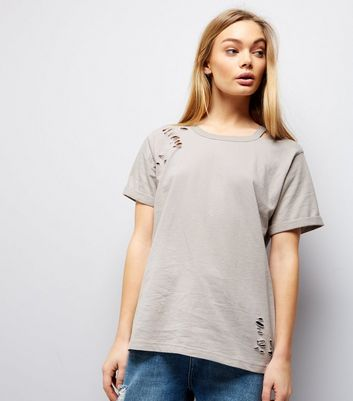 Pale Grey Cut Out Ripped Neck T-Shirt