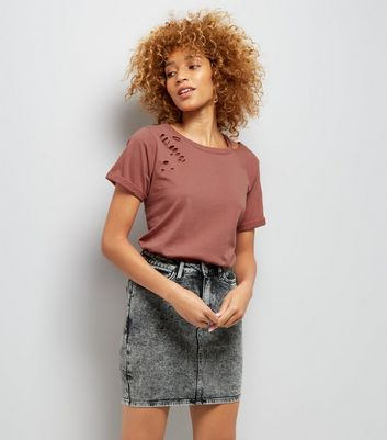 Brown Cut Out Ripped Neck T-Shirt