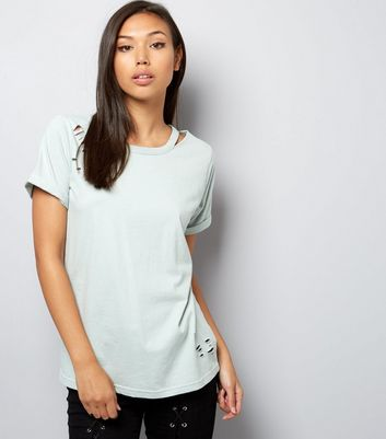 Mint Green Cut Out Ripped T-Shirt
