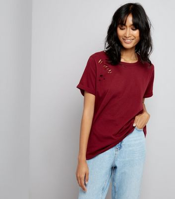 Burgundy Cut Out Ripped Neck T-Shirt