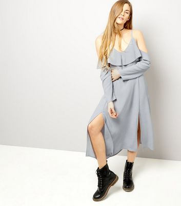 Grey Frill Trim Cold Shoulder Split Hem Midi Dress