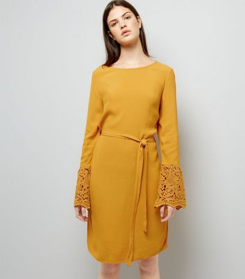 Yellow Lace Bell Sleeve Tunic Dress