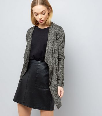 Black Fine Knit Waterfall Cardigan