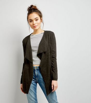 Khaki Fine Knit Waterfall Cardigan