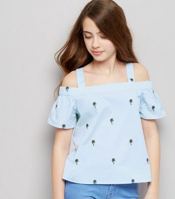 Teens Blue Stripe Palm Tree Embroidered Bardot Neck Top