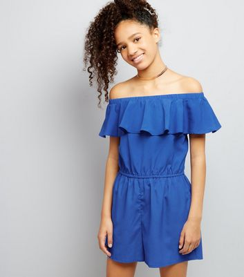 Teens Blue Frill Trim Bardot Neck Playsuit