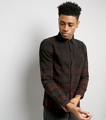 Burgundy Ombre Check Long Sleeve Shirt