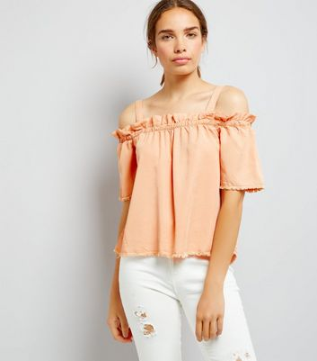 Noisy May Coral Frill Trim Cold Shoulder Top