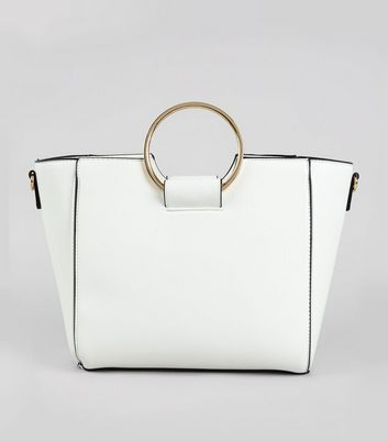 White Drawstring Ring Handle Tote Bag