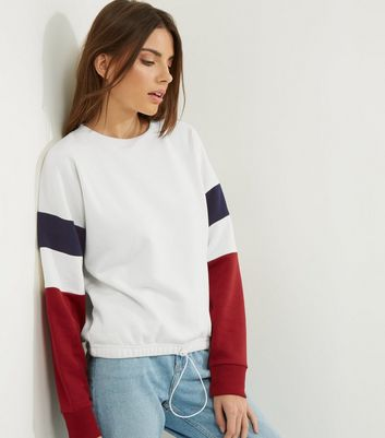 White Colour Block Sleeve Drawstring Sweater